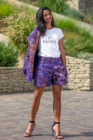 Purple tie-dye long short