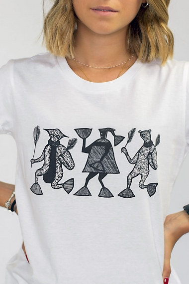 White T-shirt Mileg black...