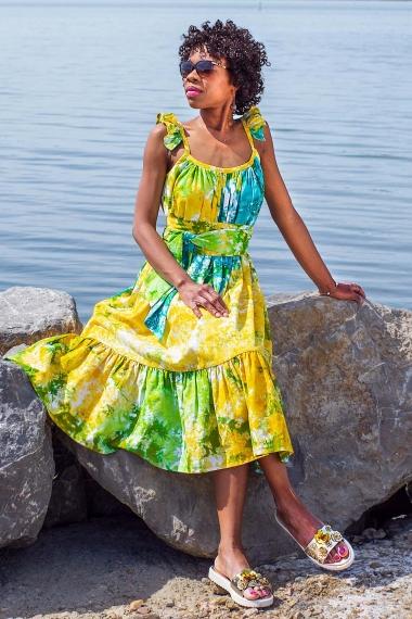 ethnic tie and dye dress