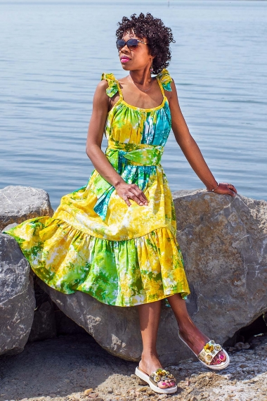 ethnic tie and dye dress