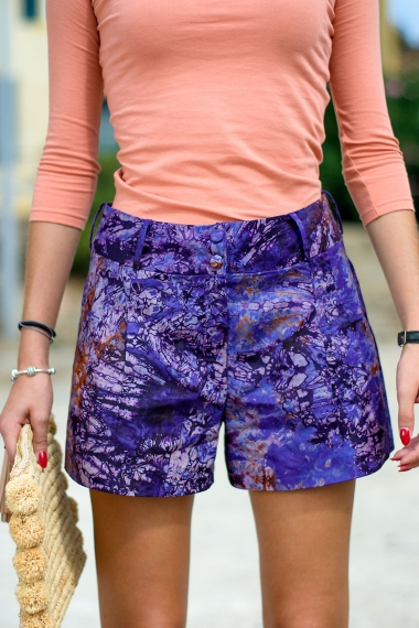Purple tie-dye short
