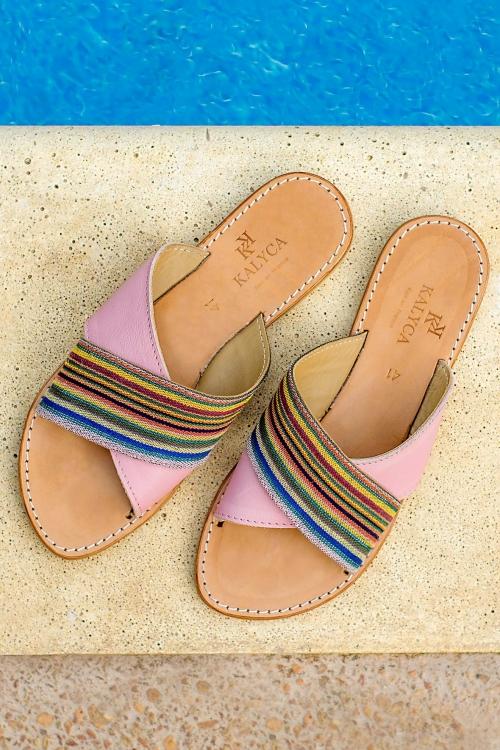 Sandales en cuir et tissu roses