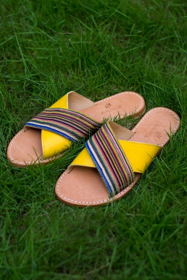 Yellow leather sandals