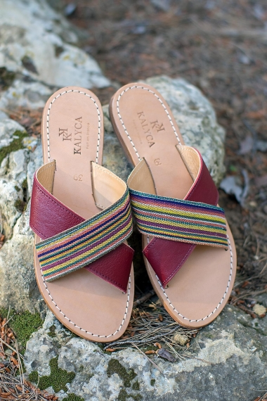 Burgundy leather sandals
