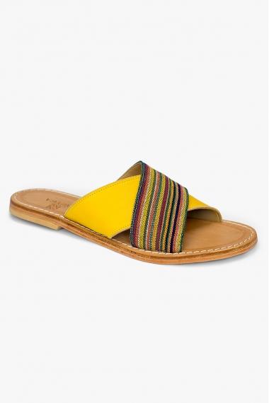 Sandales en cuir et tissu jaunes