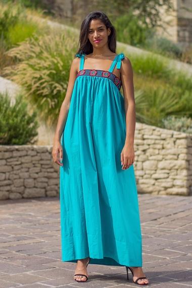 lagoon blue poplin dress