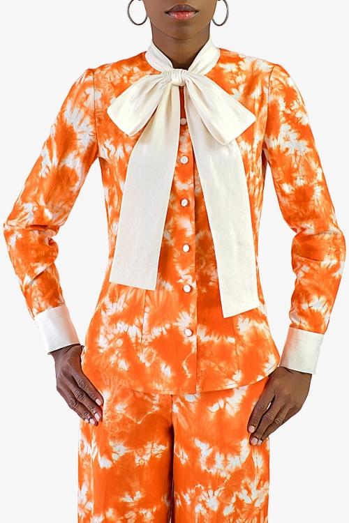 Chemise imprimée à noeud tie-dye