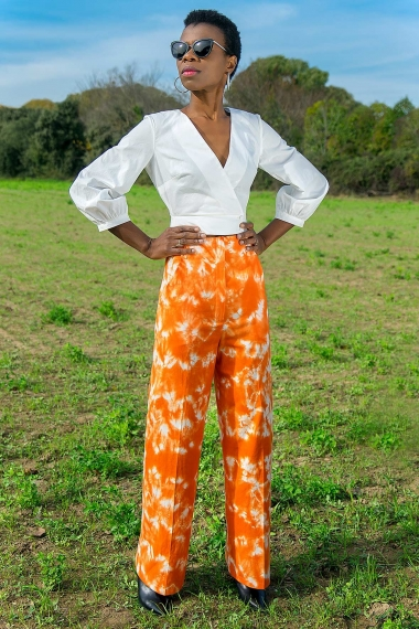 Pantalon femme chic orange