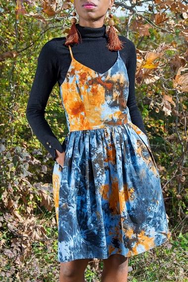robe bretelle d'automne en coton