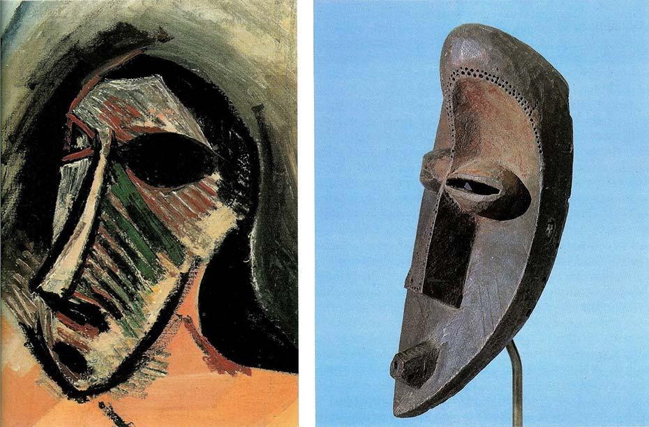 Masque africain dans le tableau Les demoiselles d'Avignon